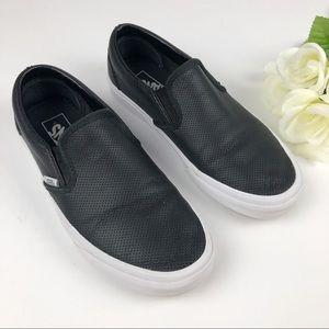 Vans Black Leather Slip On Fashion Shoes